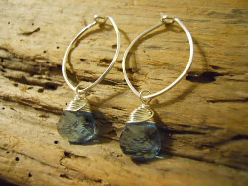 Aquamarine Briolette Crystal Earrings