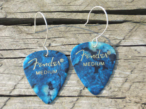 Blue Fender Guitar Pick Earrings