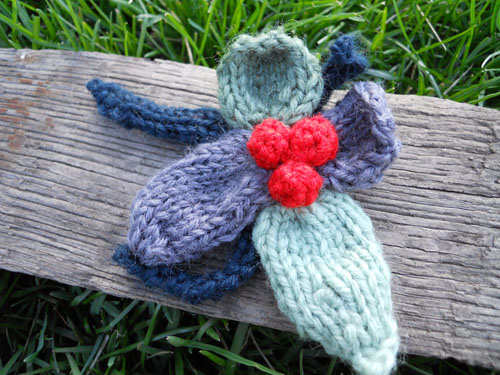 Blue, Green & Cherry Colored Wool Pin