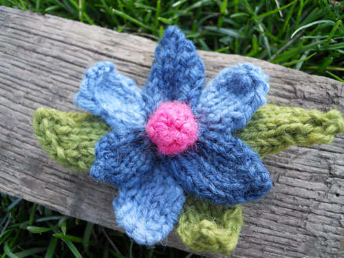 Blue, Pink & Green Wool Pin