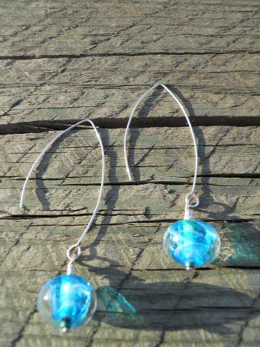 Blue Swirl Drop Earrings