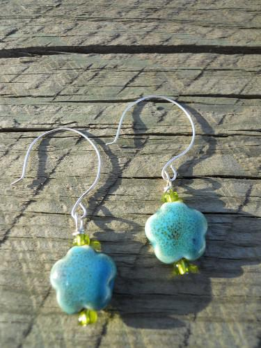 Ceramic Teal and Green Earrings