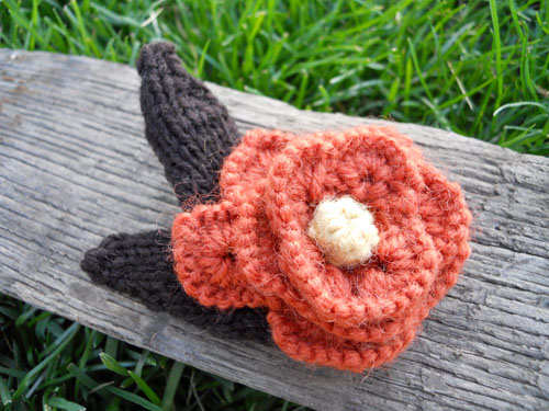 Copper Colored Wool Flower Pin