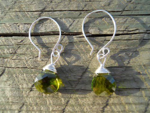 Flat Olive Briolette Crystal Earrings