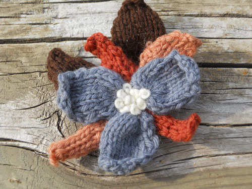 Funky Blue, Brown & Copper Colored Flower Pin