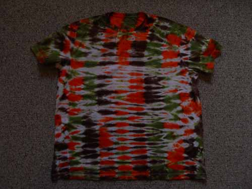Green, Orange & Brown Horizontal Stripe Tie Dye Tee