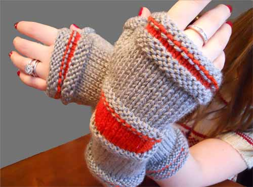 Grey Heather & Coral Hand Warmers