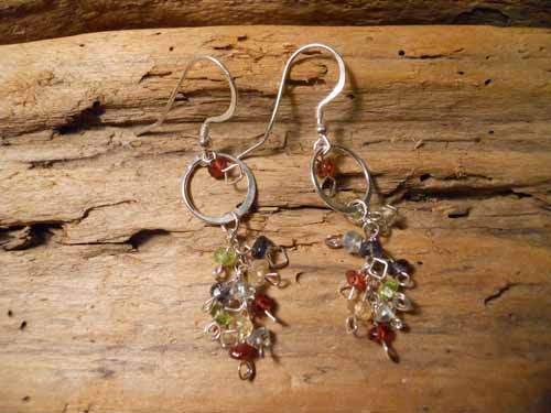 Multi-Colored Gem Earring - Click Image to Close
