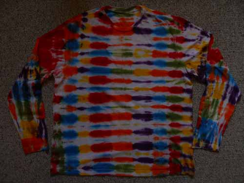 Multi-Colored Striped Long Sleeve Tie Dye