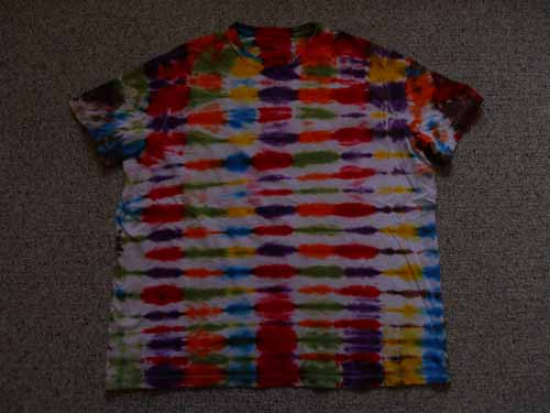 Multi-Colored Striped Tie Dye Tee - Click Image to Close