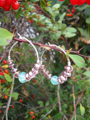 Faceted Purple & Soft Blue Hoop Earrings