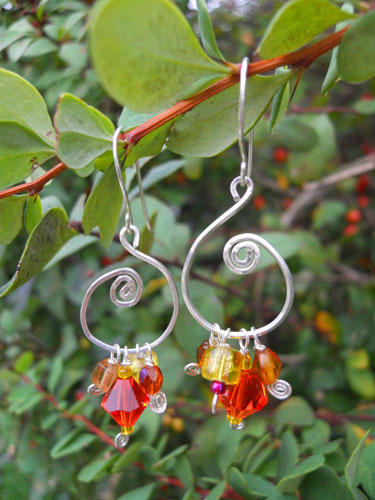 Orange & Yellow Silver Swirl Earrings