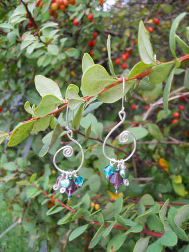 Purple & Teal Silver Swirl Crystal Earrings