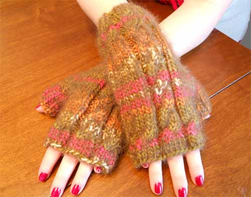 Striped Angel Hair Hand Warmers