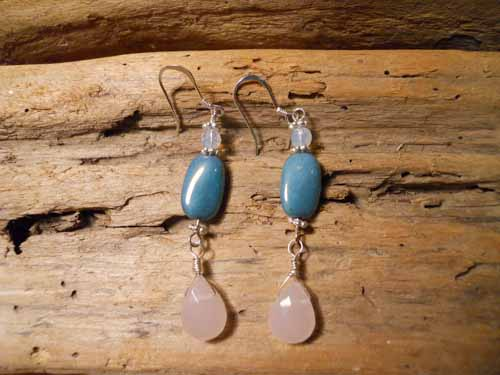 Dangling Teal Ceramic & Frosted Pink Briolette Earrings