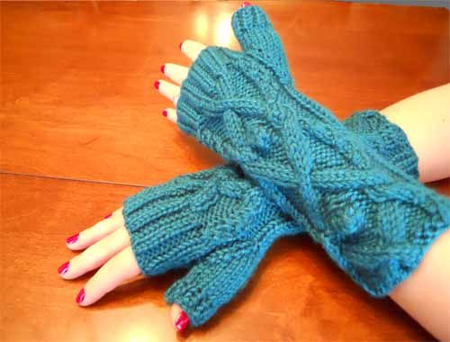 Teal Cross Knit Hand Warmers