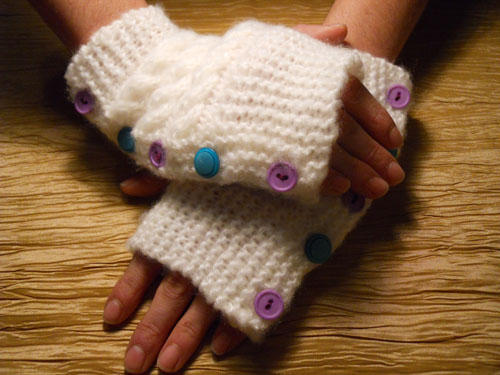 White Hand Warmers with Teal & Purple Buttons